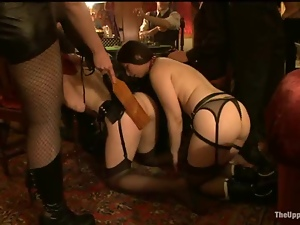 Submissive girls get their pussies toyed and fucked