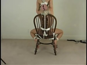 Charming blondie C.J. gets arched on the chair