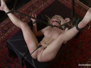 Beautiful Missy Woods gets face fucked in bondage video