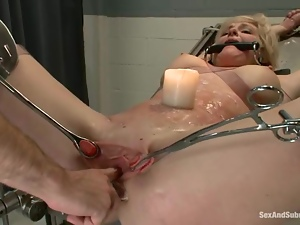 Sexy blonde girl gets bounded and fucked in prison hospital
