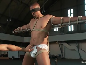 Black dude gets tied up on the bar and drilled in ass