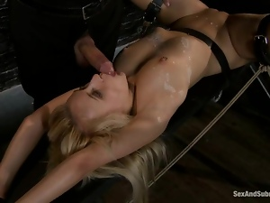 Tied up Mallory Rae Murphy gets fucked after wax session