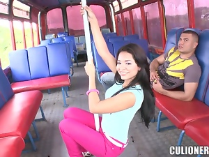 Dayana sucks and rides a prick in a bus and gets cum on her beautiful face
