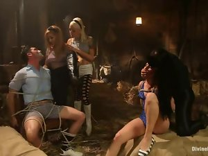 Lea Lexis, Lorelei Lee and other girls enjoy humiliating a horny dude