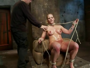 Stunning blonde gets choked and toyed by her mistress