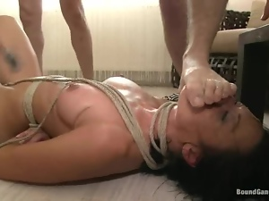 Brunette angel get gagged and fucked by a lot of men