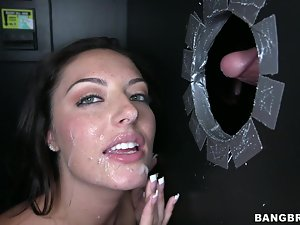 Gorgeous Nikki Lavay sucks dicks in a gloryhole video