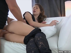 Pretty babe gets her tight ass fucked in clothed sex video