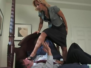 Hot office chick ties her boss up and tortures him in a bedroom