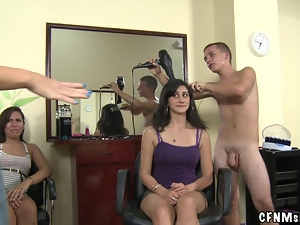 Horny chicks sucks a cock in a hairdressing salon