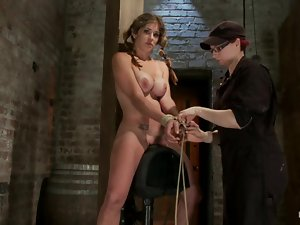 Super tight breast bondage and suspension for Felony