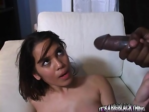 Juicy brunette gets so surprised to see that black monster cock