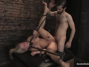 Bounded blonde gets spanked and then fucked rough