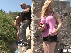 Lara gets fucked and fingered outdoors in front of a friend
