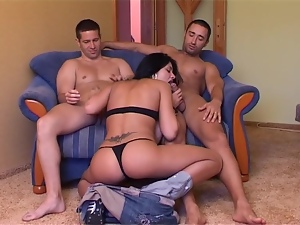 Delightful Irinia gets fucked in both holes in MMF video