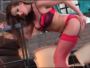 Sandra Shine is smoking hot in red lingerie