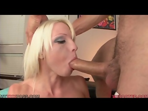 Rikki Six gags on cock during blowjob