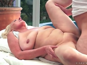 Bald old vagina fucked by his young meat
