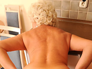 POV with cock gobbling granny