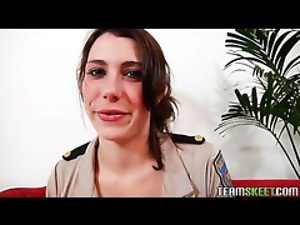 brunette chick in police attire giving a good bj