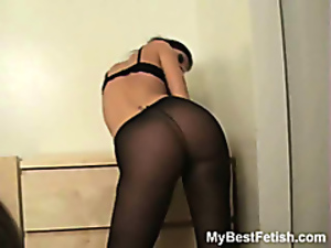 Hot cheek black pantyhose worship