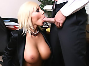 Work slut sucks cock