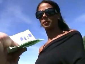 Tanned Czech girl payed for hardcore snatch pounding in public