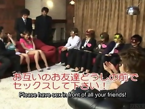 Subtitled Japan friends watch authentic group foursome
