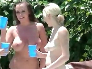 Lucky voyeur guy joins and fucks three naughty hotties on a pool party