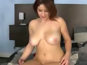 Horny Girl Gets Titty Fucked On Bed