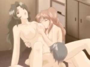 Japanese hentai threesome fucked and licked tits