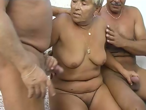 Outdoors threesome with BBW granny and her old admirers