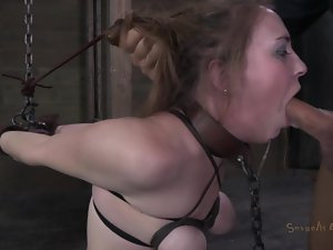 Bound and made to gag on cock