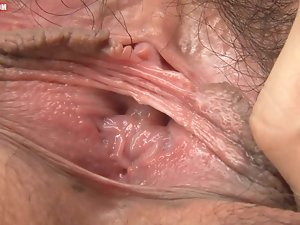 Close ups of hairy Asian pussy