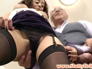 Old british sir jerked off by sexy lady