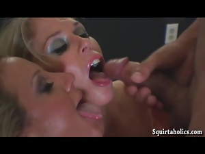 Blondes squirt during a spicy threeway