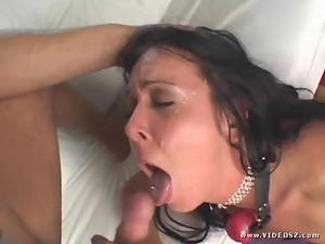 Julie Knight gets her face drizzled with hot cum