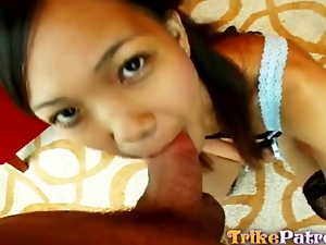 Natural Filipina sucking and fucking white cock