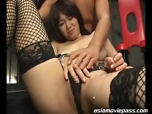 Busty Asian receive messy bukkake cum on her face and b