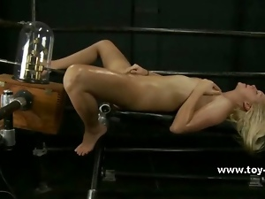 Nasty redhead babe uses electric toys