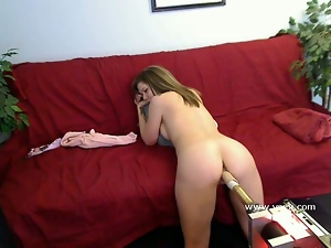Amateur Kimber Peters bends over and allows one of