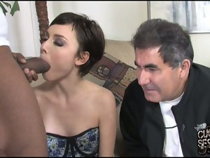 petite brunette fucks in front of a cuckold