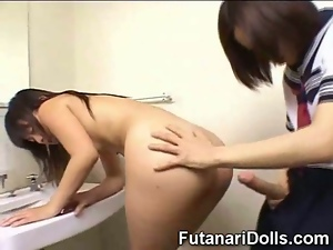 Futanari Cums On Schoolgirl!