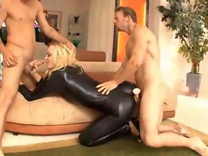 MMF Threesomes with Latex Blondes