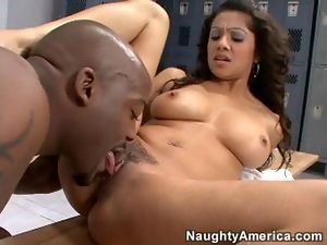 Sexy white brunette with shaved pierced pussy gets licked and fucked by black cock