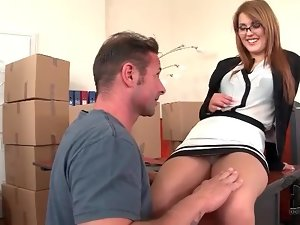 Sexy slut in glasses sucks dick in office
