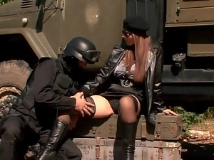 Soldier worships the pussy of the big tits girl