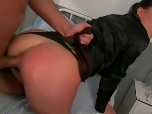 Clothed girl in pretty ponytail fucked hard