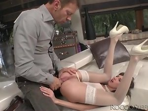 Petite girl in beautiful white stockings ass fucked