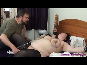 Nipple pain and pussy vibration for tied fat girl